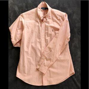 Ralph Lauren peach button up long sleeved polo